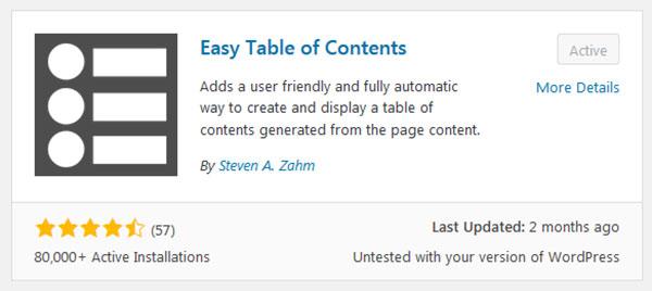 Easy Table of Contents - En iyi ücretsiz WordPress Eklentisi